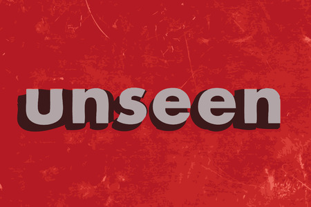 unseen: unseen vector word on red concrete wall