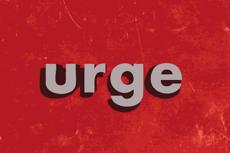 urge: urge vector word on red concrete wall Illustration