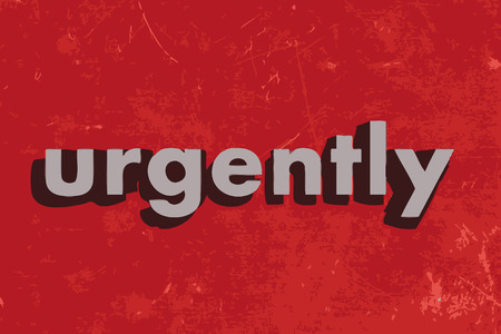 urgently: urgently vector word on red concrete wall
