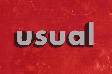 usual: usual vector word on red concrete wall