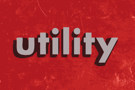 utilities: utility vector word on red concrete wall Illustration