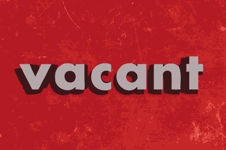 vacant: vacant vector word on red concrete wall
