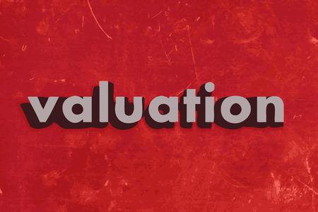 Bewertungs vektor wort auf rotem Betonwand