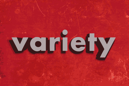 variety: variety vector word on red concrete wall