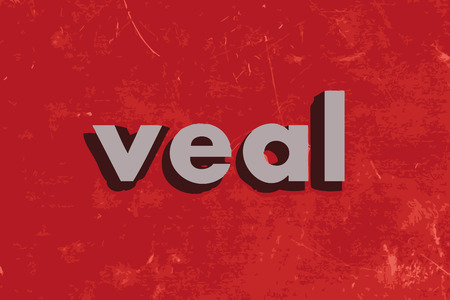 veal: veal vector word on red concrete wall
