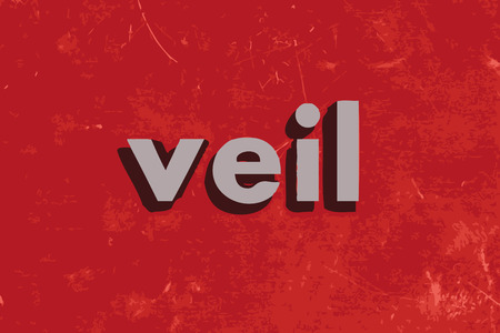 veil: veil vector word on red concrete wall Illustration