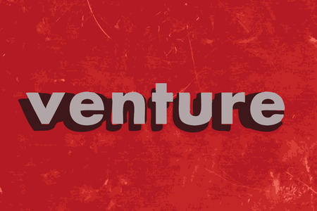 venture: venture vector word on red concrete wall