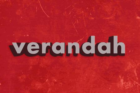 verandah: verandah vector word on red concrete wall Illustration