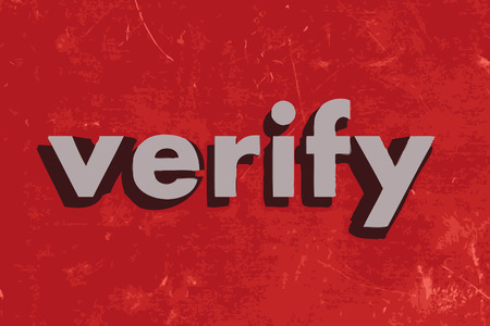 verify: verify vector word on red concrete wall