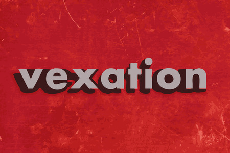 vexation: vexation vector word on red concrete wall