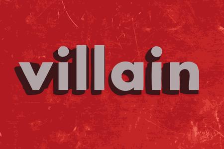 villain: villain vector word on red concrete wall