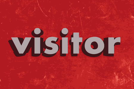 visitor: visitor vector word on red concrete wall