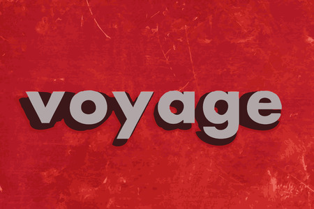 voyage: voyage vector word on red concrete wall