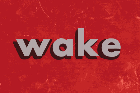 awake: wake vector word on red concrete wall