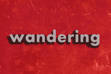 wandering: wandering vector word on red concrete wall Illustration