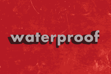 waterproof vector word on red concrete wall