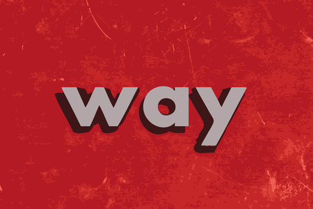the way: way vector word on red concrete wall