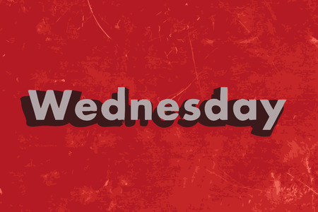 wednesday: Wednesday vector word on red concrete wall
