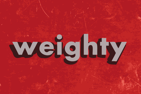 weighty: weighty vector word on red concrete wall