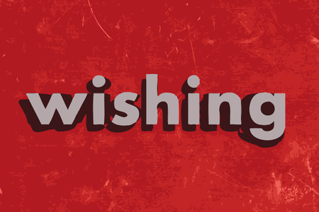 wishing: wishing vector word on red concrete wall Illustration