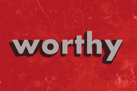 worthy: worthy vector word on red concrete wall