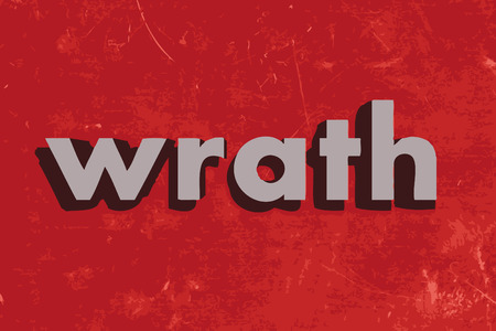 wrath: wrath vector word on red concrete wall Illustration