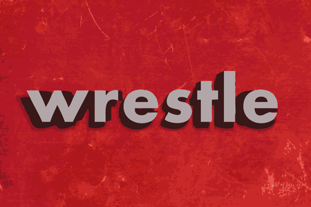 wrestle: wrestle vector word on red concrete wall
