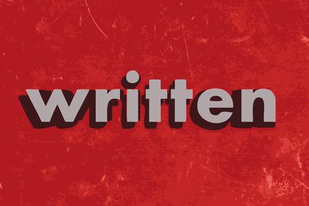 written: written vector word on red concrete wall