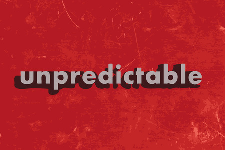 unpredictable vector word on red concrete wall Ilustrace