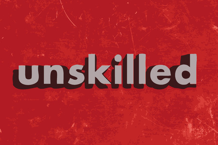 unskilled: unskilled vector word on red concrete wall Illustration