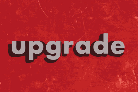 upgrade: upgrade vector word on red concrete wall Illustration