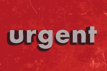 urgency: urgent vector word on red concrete wall