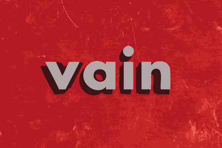 vain: vain vector word on red concrete wall Illustration