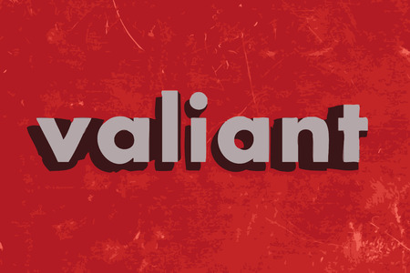 valiant vector word on red concrete wall