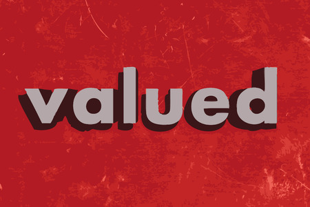 valued: valued vector word on red concrete wall Illustration