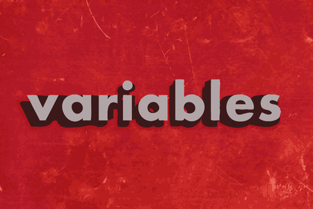 variables: variables vector word on red concrete wall Illustration