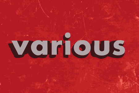 various: various vector word on red concrete wall Illustration
