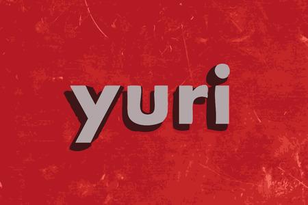 yuri: yuri vector word on red concrete wall