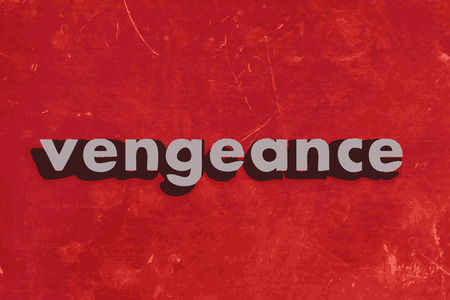 vengeance: vengeance vector word on red concrete wall