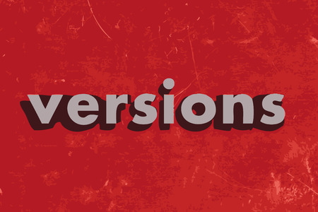 versions: versions vector word on red concrete wall Illustration