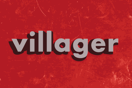 villager: villager vector word on red concrete wall