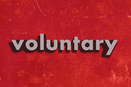 voluntary: voluntary vector word on red concrete wall