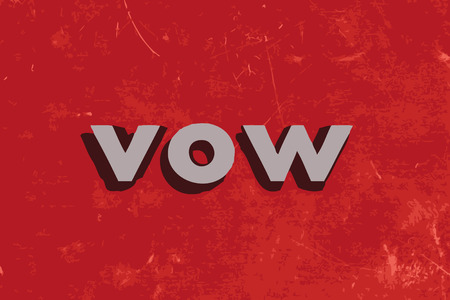 vow: vow vector word on red concrete wall