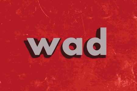 wad: wad vector word on red concrete wall