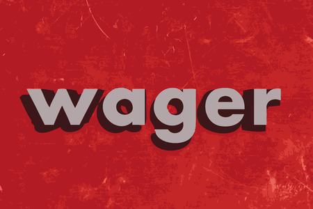 wager: wager vector word on red concrete wall Illustration