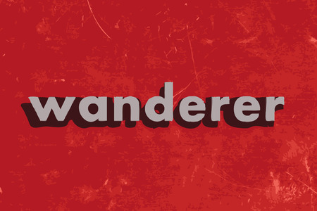 wanderer: wanderer vector word on red concrete wall Illustration