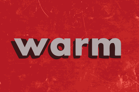 warm: warm vector word on red concrete wall