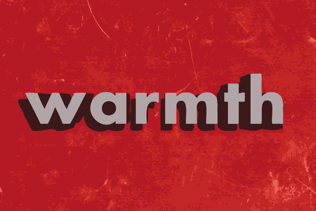 warmth: warmth vector word on red concrete wall