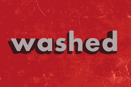 washed: washed vector word on red concrete wall