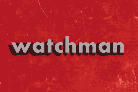a watchman: watchman vector word on red concrete wall Illustration